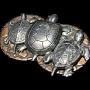Beautiful Turtle Pals Mixed Metals Brooch Pin