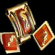 Signed Jean Painleve Paris Bakelite Seahorse Brooch Earrings Art Deco 1930's