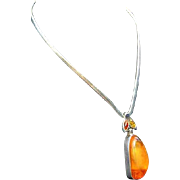 Bold Amber Sterling Silver Pendant Mexico Mexican Collar Necklace