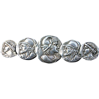 Late Victorian Homeric Design SterlingSilver Brooch Pin
