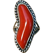 Big Native American Oxblood Red Coral Sterling Silver Bold Ring