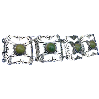 Early Mexico Sterling Silver Hand Wrought Organic Stone Bracelet