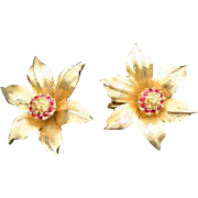 Signed Boucher Poinsettia Narcissus 60's Earrings Beautiful