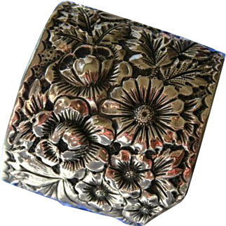 Gorham Sterling Repousse Floral Organic Foliate Cuff Bracelet