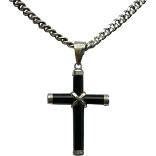 Sterling Silver Black Hard Stone Mourning Cross Pendant Sterling Silver Necklace