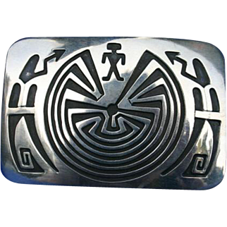 Signed Hopi Sterling Silver Man in the Maze Belt Buckle