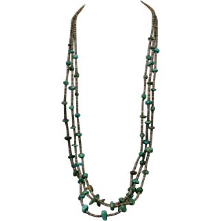 Native American Santo Domingo Kewa Green Turquoise Shell Necklace 40's/50's