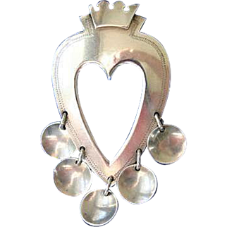 Rare Anton Michelsen 1951 Heart Solje Sterling Silver Brooch Pin