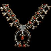Navajo Coral Sterling Silver Squash Blossom Necklace 60's/70's