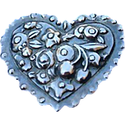 Vintage Lovely High Relief Sterling Silver Heart Brooch Pin