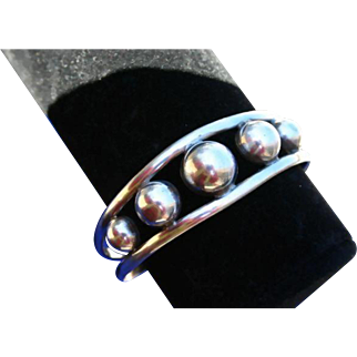 Mexico Mexican Sterling Silver Ball Orb Cuff Bracelet Early 80's