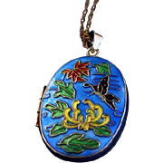 Bright Beautiful Chinese Export Enamel Locket Necklace