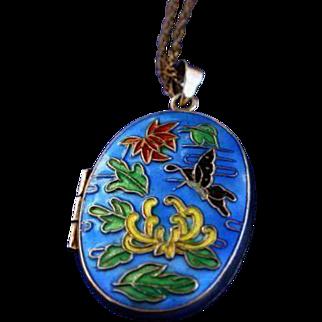 Bright Beautiful Chinese Export Enamel Locket Necklace