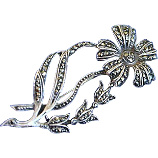 Sterling Silver English Marcasite  Daisy Tulip Brooch 40's
