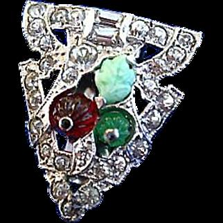 Molded Glass Rhinestone Marcasite 40's/30's Dress Clip