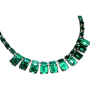 Stunning Joseph Wiesner 50's Art Deco Style Emerald Green Glass Necklace