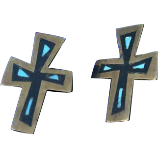 Los Castillo Mexico Cross Turquoise Sterling Silver Mixed Metals Earrings 50's