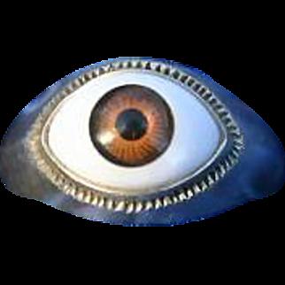 Wild Unique Vintage Golden Brown Evil Eye Sterling Silver Ring