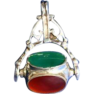 Sterling Silver Spinner Semi-Precious Stones Fob 30's Pendant Necklace