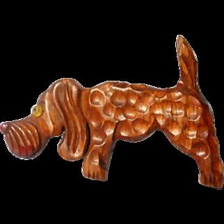Delightful 40's Hound Dog Brooch Deeply Carved and Hammered