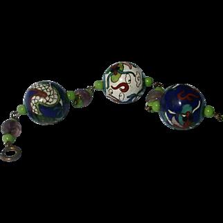 Chinese Export 30's Unique Lucky Dragon Enamel Bracelet Stunning!