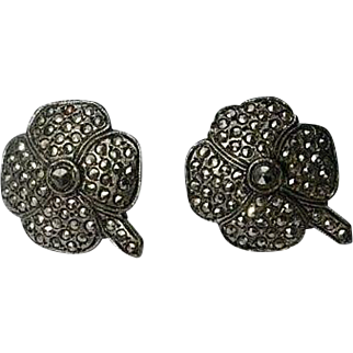 Sterling Silver Marcasite Shamrock Four Leaf Clover Earrings