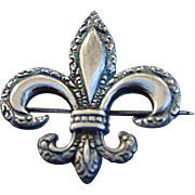 Lovely Edwardian Sterling Silver Fleur de lis Pendant Brooch Pin