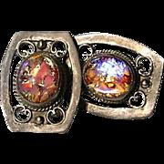 Mesmerizing Mexican Glass Foil Opal Sterling Silver Earrings