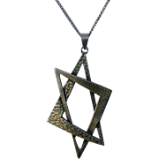 Large Judaica Modern Magen David Sterling Silver Necklace 50's/60's