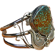 Large Turquoise Sterling Silver Cuff Signed Martin Musket