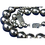 Large Mexico Taxco Sterling Silver Bead Ball Necklace & Bracelet Set