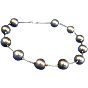 Large Sterling Silver Bead Ball Station Necklace 50's/60's R M Jordan & Co