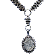 Exceptional Victorian Sterling Silver Locket Book Chain Necklace