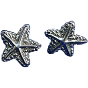 D'Molina Taxco Mexico Sterling Silver Starfish Earrings Signed