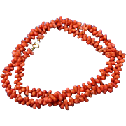 Natural Coral Bead Necklace 14K Gold Clasp Lovely
