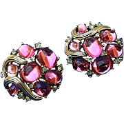 Crown Trifari Cabochon Rhinestone Earrings Lovely