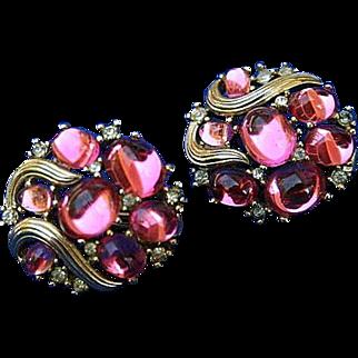 Crown Trifari Cabochon Rhinestone Earrings Lovely
