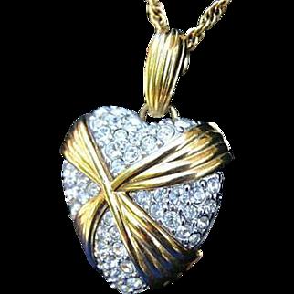 Swarovski Large Pave Heart Swan Hallmark Pendant Necklace