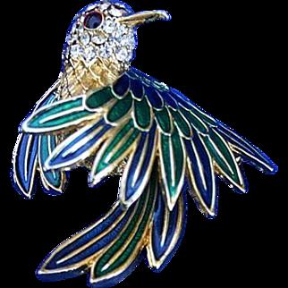 Lovely D'Orlan for Boucher Enamel Hummingbird Brooch Pin