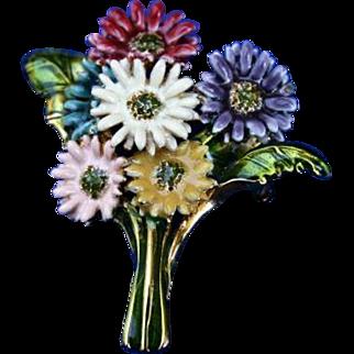 MFA Boston Enamel Floral Brooch Pin Lovely