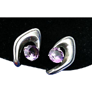 Maestro Enrique Ledesma Mid Century Modern Sterling Silver Amethyst Earrings