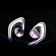 Maestro Enrique Ledesma Mid Century Modern Sterling Silver Amethyst Earrings