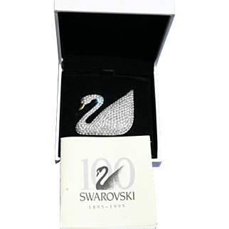 Limited Swarovski Jeweler's Collection Large Size Swan Brooch Pin Box & Paperwork