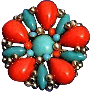 Stunning 50's Miriam Haskell Signed Art Glass Coral Turquoise Color Brooch Faux Pearls