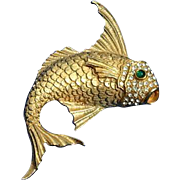 Good Looking Ciner High Hat Fish Brooch Pin 60's
