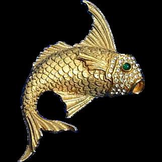 Good Looking Ciner High Hat Fish Brooch Pin 60's