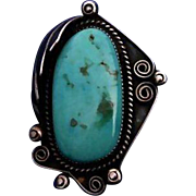 Signed Native American Turquoise Sterling Silver Ornate Pendant 70's