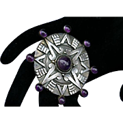 Patino Taxco Mexico Sterling Silver Amethyst Pendant Brooch Stunning