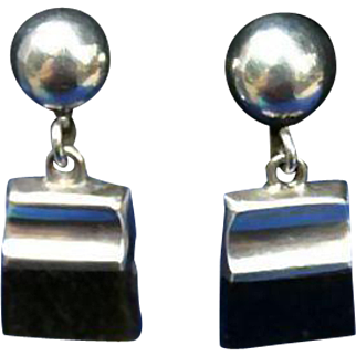 Enrique Ledesma Taxco Mexico Sterling Silver Obsidian Mid Century Earrings