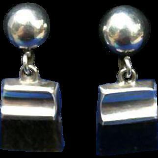 Enrique Ledesma Taxco Mexico Sterling Silver Obsidian Mid Century Earrings